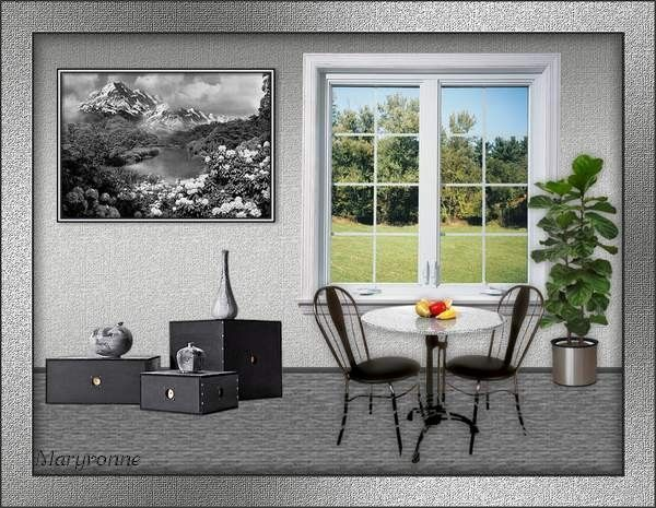 Salon et fenêtre sur la nature