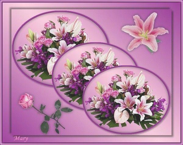 Composition florale de roses et de lys