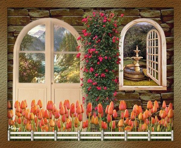 fa ade de la maison fleurie au printemps. Black Bedroom Furniture Sets. Home Design Ideas