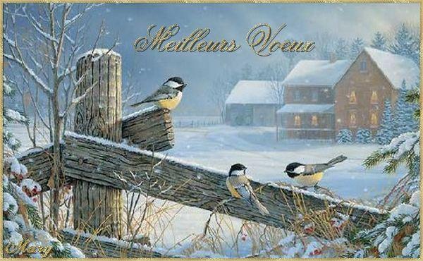 Meilleurs voeux paysage avec les petits oiseaux for Les petits oiseaux